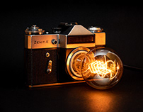Vintage Zenit camera lamp DIY