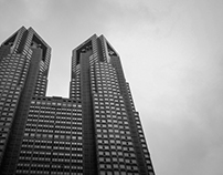 Skyscrapers underblack clouds