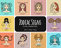Zodiac Signs. 12 Girl Characters