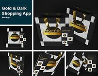 Gold & Dark Shopping App Mockup