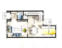Real Estate Watercolor 2D Floor Plans Part 2