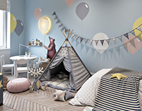 Design of childroom with ballons