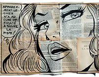 Comic Girl Collage | Painting retro style vintage books