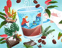 Editorial illustration about a coffee 2018