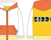 Fashion flat design of kid's hooded sweatshirt