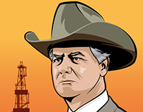 """Texas' Black Gold"" - JR Ewing Illustration"