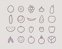 Fruits and veggies icon set