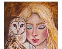 Owl & girl / Oil Painting