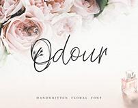 Odour. Handwritten Floral Font