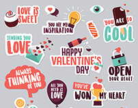 Set of Valentine's day love stickers for social network