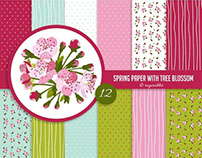 Spring Digital Paper Set with Cherry Blossom Clip Art