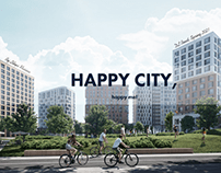 """Real Estate """"Happy City"""" home page concept"""