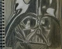 Darth Vader Pastel Drawing