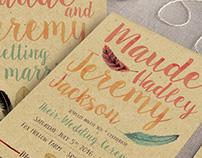 Watercolor Feather Wedding Invitation