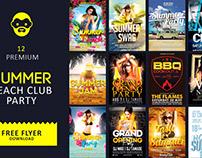 12 Premium Summer Beach Club Party Free Flyer Download
