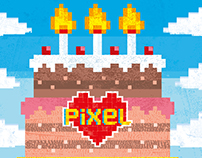 Pixel Love Art Birthday Cake Card