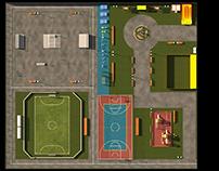 Визуализация спорт-площадки, в таёжный поселок.
