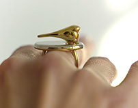 Golden Bird Ring For Woman, Minimalist Jewelry