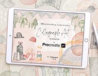 Collagraph Printmaking BrushSet for Procreate + freebie