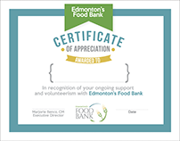 Edmonton Food Bank Certificate Designs