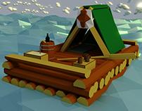 Stylized Low Poly Raft