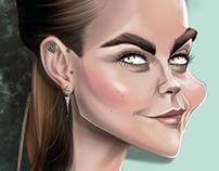Caricature of The actress Cara Delevingne