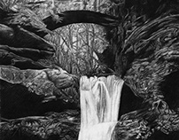 Old Man's Cave - Charcoal Illustration