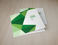 Square Green Geometric Pattern Trifold