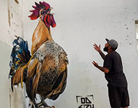 3D Wall Art Mural Painting Rooster