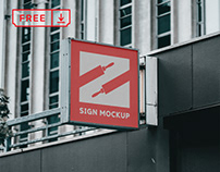 Free Sign on Building Mockup