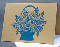 Letterpress Flower Basket Greeting Cards