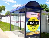 Free Bus Shelter Mockup PSD