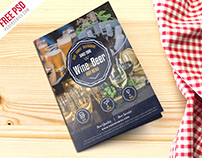 Free PSD : Beer And Wine Menu Bi Fold Brochure PSD