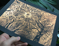 Metallic Rainier Topographic Map