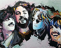 Beatles - Acrilic on Canvas 1x1,5m Painting