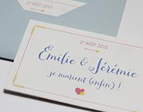 FAIRE-PART DE MARIAGE EMILIE & JÉRÉMIE