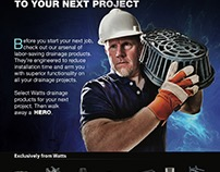 Watts Drainage Ad and Web banner