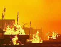 Flaming village