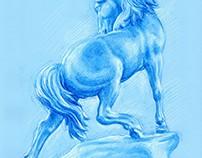 Horse blue ink Kamil Strzelecki