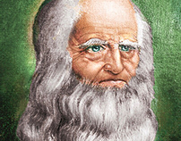 Portrait of Leonardo da Vinci, Oil Painting on canvas.