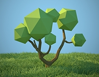Lowpoly art-style trees