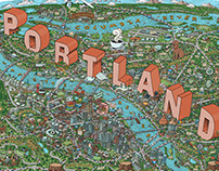 Illustrated Map of Portland, OR