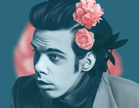 Portrait of a young Nick Cave