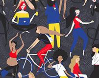 Women Power illustration - seamless pattern
