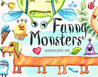 Watercolor Funny Monsters Collection
