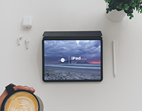 Free Top View Coffee With iPad Mockup