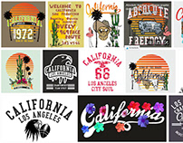 California graphic design vector art