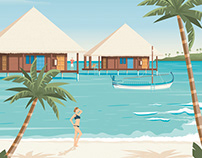 Maldives Island Retro Travel Poster Beach Illustration
