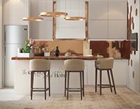 Интерьер кухни в эко стиле с бронзовыми элементами