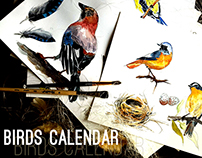 Birds Calendar. Watercolor illustrations.